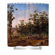 An Aboriginal Encampment Near The Adelaide Foothills Shower Curtain