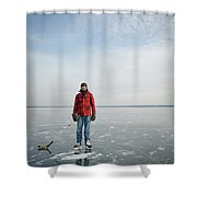 An Adult Male Playing Ice Hockey Poses Shower Curtain