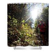 An Adult Woman Trail Running Shower Curtain
