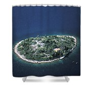 An Aerial View Of Two Kayakers Paddling Shower Curtain