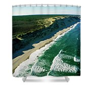 An Aerial View Of Waves Hitting Shower Curtain