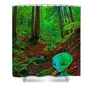 An Alien In A Cosmic Forest Of Time Shower Curtain