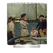 An American Privateer Taking A British Prize, Illustration From Pennsylvanias Defiance Shower Curtain