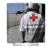 An American Red Cross Volunteer Waits Shower Curtain