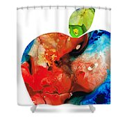 An Apple A Day - Colorful Fruit Art By Sharon Cummings  Shower Curtain by Sharon Cummings