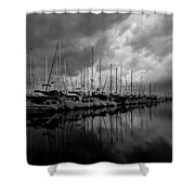 An Approaching Storm - Black And White Shower Curtain