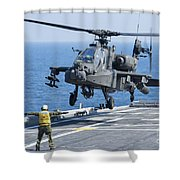 An Army Ah-64d Apache Helicopter Shower Curtain