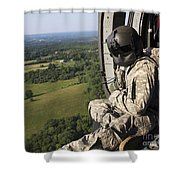 An Army Crew Chief Looks Out The Door Shower Curtain