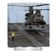 An Army Mh-47g Chinook Conducts Deck Shower Curtain