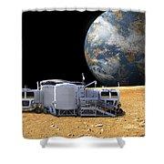 An Artists Depiction Of A Lunar Base Shower Curtain