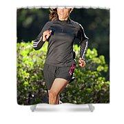 An Athletic Woman Trail Running Shower Curtain