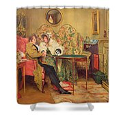 An Attentive Visitor Shower Curtain