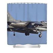 An Av-8b Harrier II Flying Over Yuma Shower Curtain