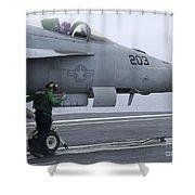 An Aviation Boatswains Mate Prepares An Shower Curtain