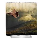 An Eagle Over Cumbria Shower Curtain by Meirion Matthias