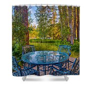 An Early Morning On The Deck At Cottonwood Cottage Shower Curtain