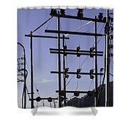 An Electric Transmission Pole In The Himalayas Shower Curtain
