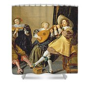 An Elegant Company Playing Music In An Shower Curtain by Dirck Hals