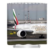 An Emirates Boeing 777 At Milano Shower Curtain