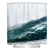 An Empty Wave Breaks Over A Shallow Reef Shower Curtain