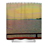 An Expanse Of Sky And Sea Twilight Fishing The Canal St Lawrence River Scenes Art Carole Spandau Shower Curtain