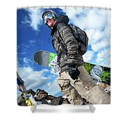 An Extreme Snowboarder Stands Shower Curtain