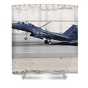 An F-15c Eagle Landing On The Runway Shower Curtain