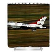 An F-16 Thunderbird Of The U.s. Air Shower Curtain