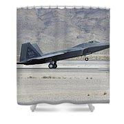 An F-22 Raptor Landing On The Runway Shower Curtain