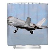 An F-35a Taking Off From Eglin Air Shower Curtain