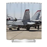 An Fa-18c Hornet Being Readied Shower Curtain