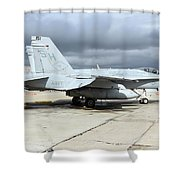 An Fa-18c Hornet On The Ramp At Marine Shower Curtain