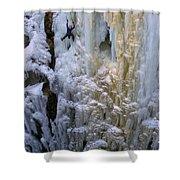 An Ice Climber Ascends A Frozen Shower Curtain
