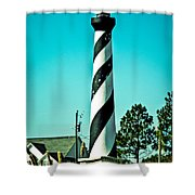 An Image Of Lighthouse In Small Town Shower Curtain