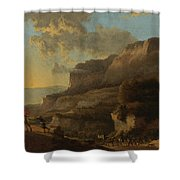 An Italianate Landscape With Travellers Ambushed By Bandits Shower Curtain