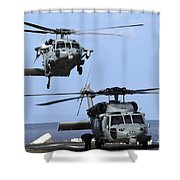An Mh-60s Sea Hawk Approaches Shower Curtain