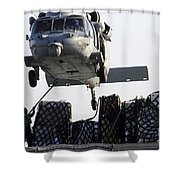 An Mh-60s Sea Hawk Picks Up Supplies Shower Curtain