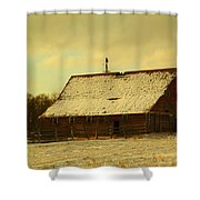An Old Barn Just After An Early Spring Snow In Keene North Dakota  Shower Curtain