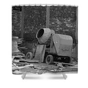 An Old Cement Mixer And Construction Material Shower Curtain