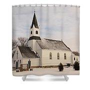 An Old Church In Palermo North Dakota Shower Curtain