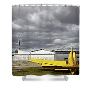 An Old Communist-era Zlin Z-37a Crop Shower Curtain