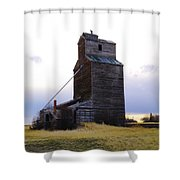 An Old Grain Elevator Off Highway Two In Montana Shower Curtain