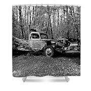 An Old Logging Boom Truck In Black And White Shower Curtain