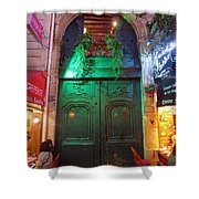 An Old Ornate Wooden Door In Paris France Shower Curtain