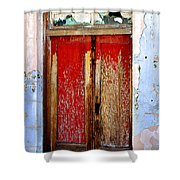 An Old Red Door Shower Curtain