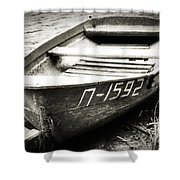 An Old Row Boat In Black And White Shower Curtain