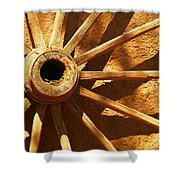 An Old Wagon Wheel In Carillos New Mexico Shower Curtain