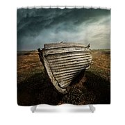 An Old Wreck On The Field. Dramatic Sky In The Background Shower Curtain