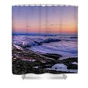 An Undercast Sunset Panorama Shower Curtain