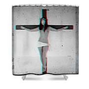 Anaglyph Asian Female Jesus Shower Curtain